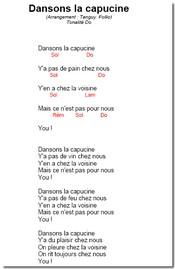 Dansons la capucine : paroles et musique