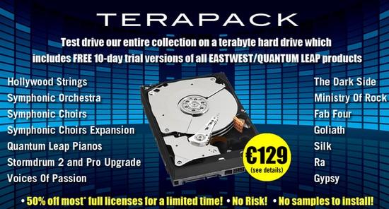 Terapack de Sounds Online : 13 banques de sons Eastwest Quantum Leap rassemblées sur un même disque dur d'un Teraoctet